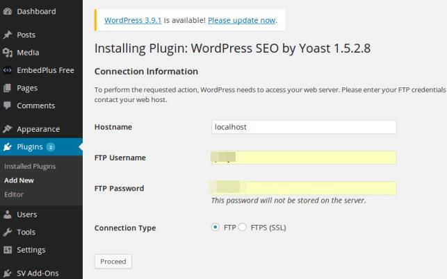 При установке и обновлении плагина WordPress просит FTP доступ к сайту